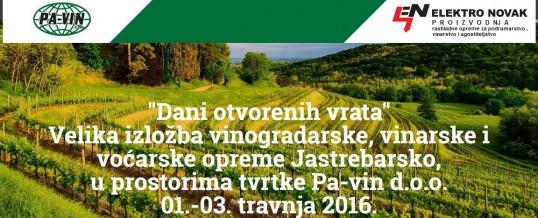 Posjetite nas na danima otvorenih vrata tvrtke Pavin d.o.o. Jastrebarsko 01.-03.04.2016.